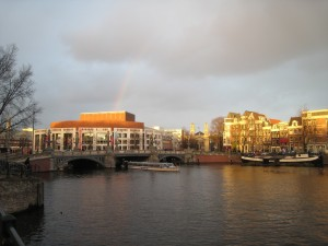 Muziektheater with rainbow